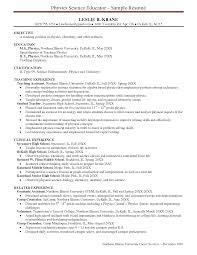 Sample Resume For Physics Teacher Templates