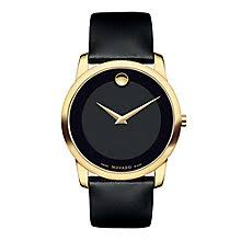 movado watches ladies men s movado designer watches ernest jones movado museum men s gold plated black dial strap watch product number 3572366