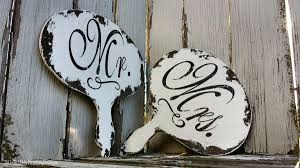 mr and mrs signs paddle signs signs with handles rustic wedding signs shabby chic wedding signs reversible hand held photo props