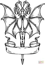 Capricious Flying Dragon Coloring Pages With Banner Page Free