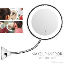 Flexible Lighted Makeup Mirror 2019 360 Degree Flexible Lighted Makeup Mirror 10x Magnifying Vanity Shaving Mirror With Led Light Bathroom Bedroom Lamp Night Light From Cnmall