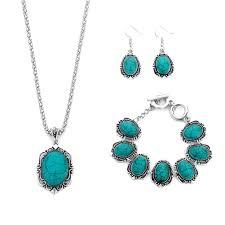 3pcs turquoise necklace earrings bracelet set ethnic flower pendant jewelry