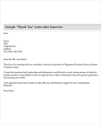 Nursing Thank You Letter after Interview