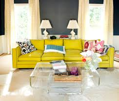 Bright Colored Coffee Tables Bright Yellow Sofa With Dark Grey Wall Color For Retro Living Room