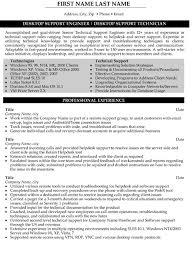 Resume Template Desktop Support Technician Resume Sample Best