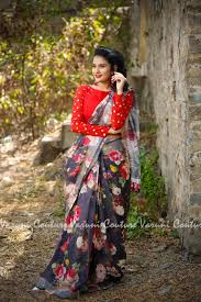 Floral Print Blouse Designs For Sarees Beautiful Gray Color Designer Saree And Red Color Designer