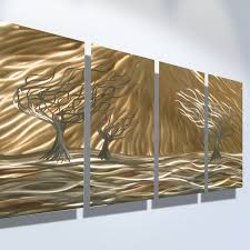 gold color 4 pieces abstract tree design large metal wall art