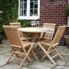 teak 4 seater round table folding chairs