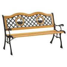 2 person natural oak finish outdoor bench