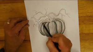 pumpkin drawing with shading. drawing and shading a pumpkin with
