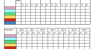 Free Printable Whelping Litter Weight Charts Chart For