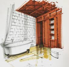 bathroom interior design sketches. Unique Interior 12BathroomSergeiTihomirovInteriorDesignColorSketches Inside Bathroom Interior Design Sketches S