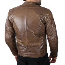 home vintage style cafe racer in leather and textile invictus hector brown leather motorcycle jacket
