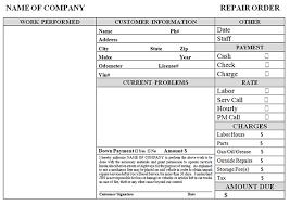 Auto Repair Order Template Excel Chakrii