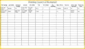 Excel Guest List Printable Wedding Guest List Template Printable Wedding Guest Lists