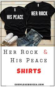 His And Hers Custom Design Her Rock His Peace Shirts Couple Shirt Design Funny