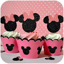 this adorable glittering mickey shorts cupcake topper is in black and red with white for the