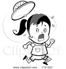 Small Picture Cartoon Clipart Of A Black And White Scared Safari Girl Running