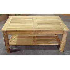 teak heavy duty coffee table with lower shelf view images