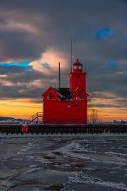 Holland harbor (south pierhead) light. 38 Lighthouses Of Michigan Ideas Michigan Lighthouse Lake Michigan