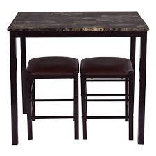 Kitchen Table 2 Chairs 3 Pcs Counter Height Dining Set Faux Marble Table 2 Chairs Kitchen