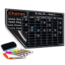 Magnetic Chalkboard Chore Chart Chore Chart With 5 Chalk Markers For Multiple Kids Magnetic Dry Erase Refrigerator Calendar Chalkboard For Activity And Reward Reusable Home