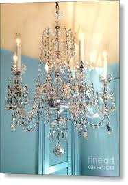white crystal chandelier shabby chic cottage sparkling photo dreamy metal print by mini c