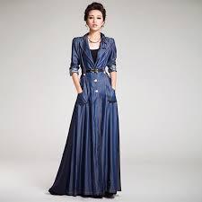 2018 2016 summer autumn women s trench coats denim single ted sash spliced plus size floor length long sleeve las long outwear ss296 from hbnn2016