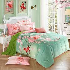 mint green comforter set queen and pink peach blossom print oriental style asian 18