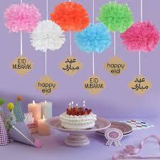 Paper Flower Decor 6pcs Set Eid Mubarak Paper Flower Decor Happy Eid Party Shopping