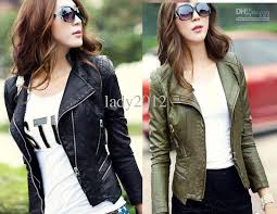 army green and black womens punk studded shoulder pu leather jacket coat jacket s xl womens leather jackets coats and jackets from lady2016 56 08 dhgate