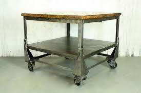 vintage industrial metal trolley cart coffee table storage shelves 408