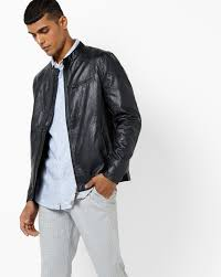 panelled biker jacket with elbow patch