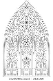 window drawing. page with black and white drawing of beautiful medieval gothic window stained glass rose s
