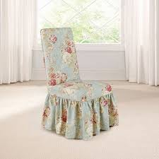 Stretch dining chair covers fit for normal and high back parson chair. Sure Fit Waverly Ballad Bouquet Long Dining Room Chair Slipcover
