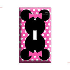 new disney minnie mouse pink polka dots light switch cover plate children room girls bedroom room