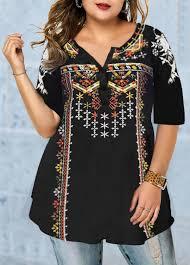Modlily Size Chart Plus Size Tribal Print Split Neck T Shirt Modlily Com Usd 28 64