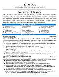 Consultant Trainer Resume Example Education Staff Development Fascinating WwwResume