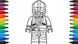 How To Draw Lego Luke Skywalker Pilot From Star Wars Coloring