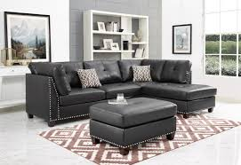 oah d6604 3 pc martinique brown faux leather fabric nail head trim reversible sectional sofa with ottoman