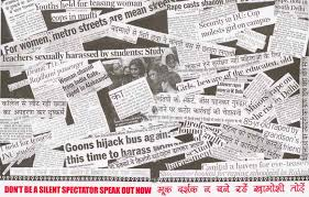 create effective messages and materials poster made up of newspaper headlines on violence against women in public places created by jagori