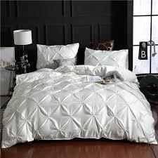 white luxury 100 super soft washed silk duvet cover set pinch pleat brief bedding sets queen king size masculine bedding southwestern bedding from jasm
