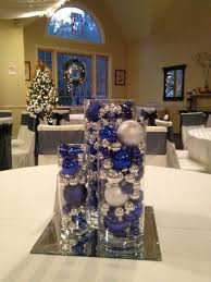 blue and silver wedding centerpieces | even tho its in august this is still  a neat