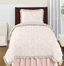 blush pink gold and white amelia 4pc twin girls bedding set by sweet jojo designs only 119 99