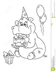 Hippo Holiday Birthday Coloring Pages Stock Illustration