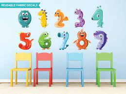monster numbers fabric wall decals
