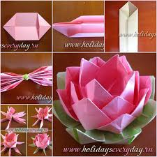 How To Make Flower With Paper Folding How To Diy Origami Paper Lotus Flower