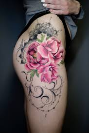 пионы бедро эскиз тату татуировка цветные графика мандалы