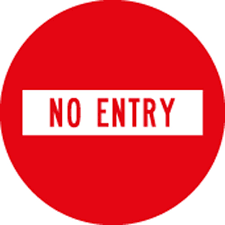 No Entry Sign Level 1 Highway 1
