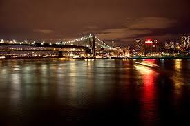 night bridge new york lights lighting reflection